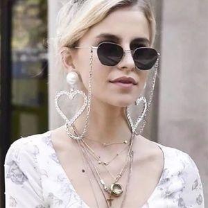 Rhinestones heart large dangling earrings